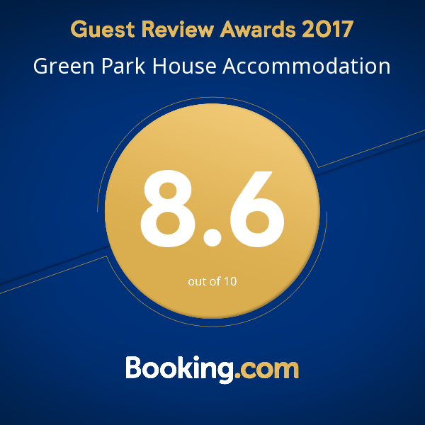 Green Park House Accommodation Booking.com Guest Review Award 2017